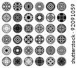 Patterns in circle shape. 36 design elements. Set 2. Vector art. - stock photo