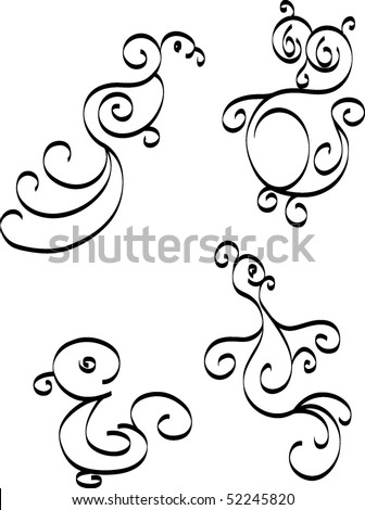 Patterns in the form of birds on a white background