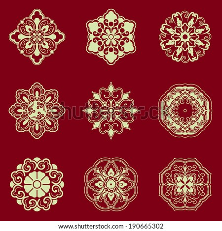 Patterns of China traditional style,based on the China traditional architectural floor and ceiling, can be used for seamless background and frame . - stock vector