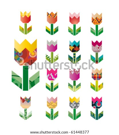 patterns of colorful flowers - stock vector