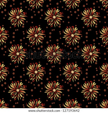 PATTERNS OF STYLIZED FLOWERS ON A BLACK BACKGROUND - stock vector