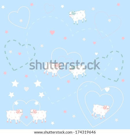 Patterns with sheeps.Vector illustration. - stock vector