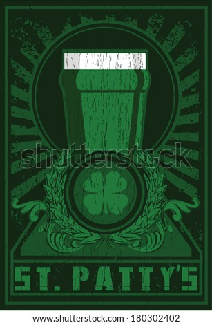 pattys poster - stock vector