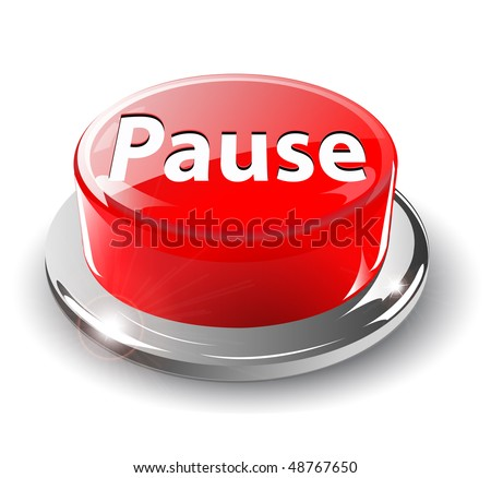 Pause button, 3d red glossy metallic, vector.