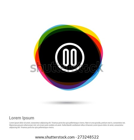 Pause Icon, White pictogram icon creative circle Multicolor background. Vector illustration. Flat icon design style - stock vector