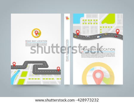 Paved path on the road. banner road book. A4 size paper, Template design element, Vector background - stock vector