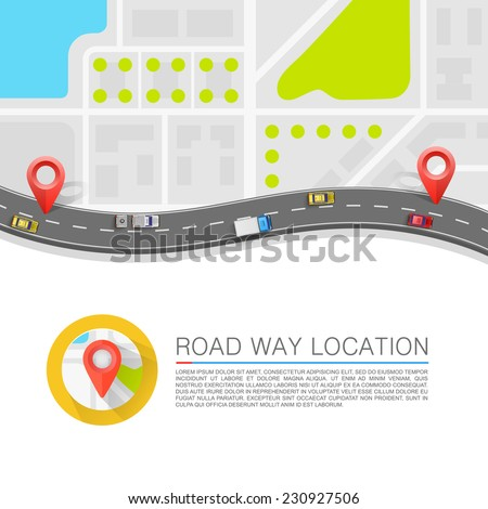 Paved path on the road, Road background, Vector background - stock vector