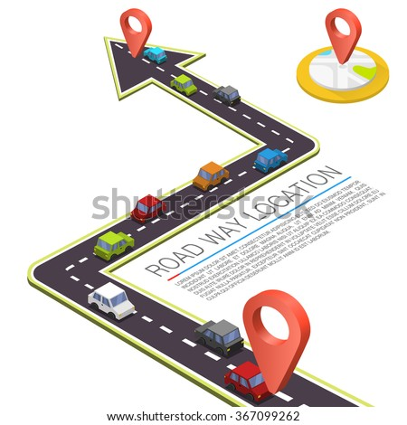 Paved path on the road, Road isometric location, Road color car, Vector background - stock vector