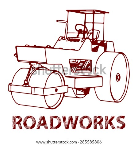 Paving machine illustration. Vector freehand drawing. Can be used to design a logo, sign or icon. - stock vector