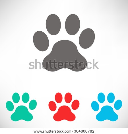 Paw icon. Set of varicolored icons. - stock vector