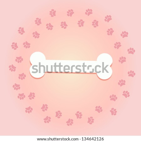 paw print and bone. vector background footprints - stock vector