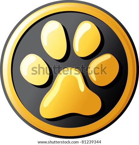 paw print button (icon) - stock vector