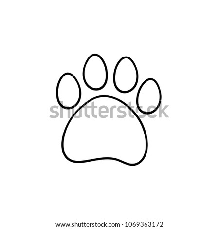 Paw Print Hand Drawn Outline Doodle Icon. Bear Paw Print Vector Sketch  Illustration For Print