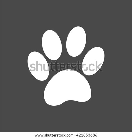 paw print icon, paw print vector, isolated paw parint