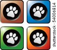 paw print square web buttons - stock vector
