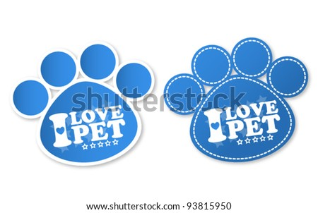 Paw print stickers with text I love pet and stars - stock vector