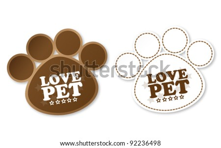 Paw print stickers with text love pet and stars - stock vector