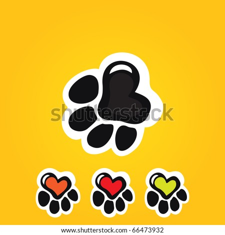Paw print with heart - stock vector