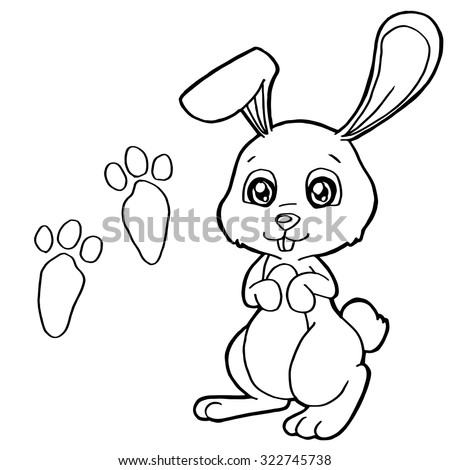 paw print with rabbit coloring pages vector - Rabbit Coloring Page