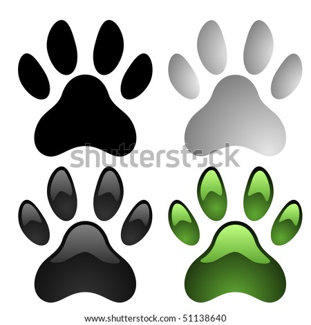 Paw prints vector set isolated on white background. - stock vector