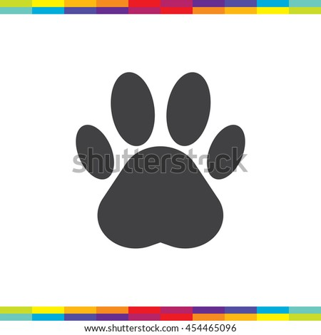 Paw vector icon. Pet care sign. Animal footprint symbol