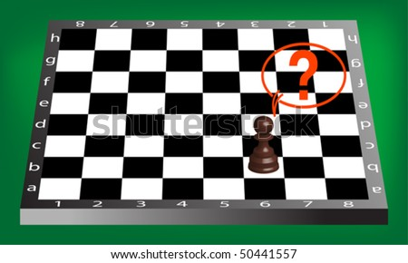 pawn and chess board, abstract vector art illustration - stock vector