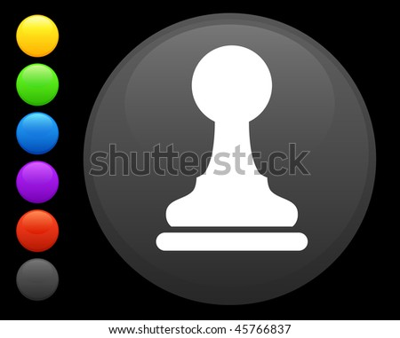 pawn chess piece icon on round internet button original vector illustration 6 color versions included - stock vector