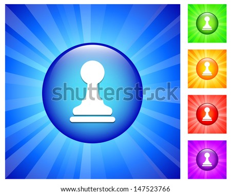Pawn Icon on Round Button with Blue Glow - stock vector
