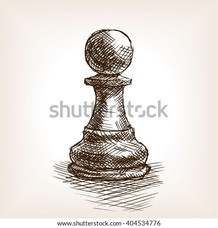 Pawn sketch style vector illustration. Old hand drawn engraving imitation. Vintage object illustration - stock vector