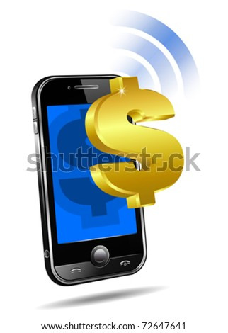 Pay by Mobile, Cell Smart Phone - e-Commerce concept Dollar - stock vector