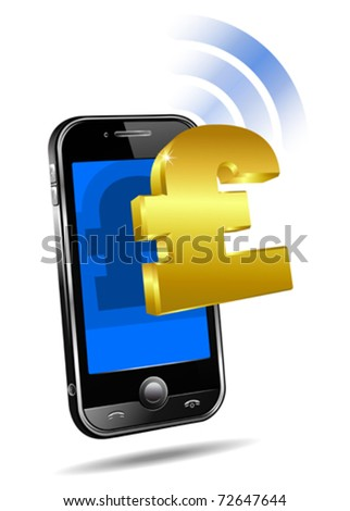 Pay by Mobile, Cell Smart Phone - e-Commerce concept, Pound sterling - stock vector
