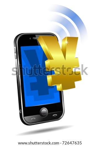 Pay by Mobile, Cell Smart Phone - e-Commerce concept, Renminbi, Yen - stock vector