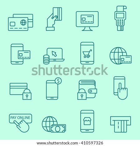Pay on line and mobile banking icons, thin line, flat design - stock vector