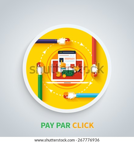 Pay per click internet advertising model when the ad is clicked. Modern flat design. Can be used for web banners, marketing and promotional materials, presentation templates  - stock vector