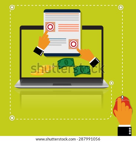 Pay, per, click, internet, concept, vector illustration in flat style for web - stock vector