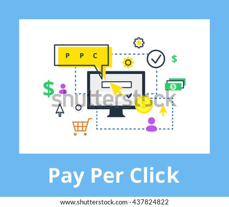 Pay per click - internet marketing, advertising concept in line and flat style. PPC vector illustration. - stock vector