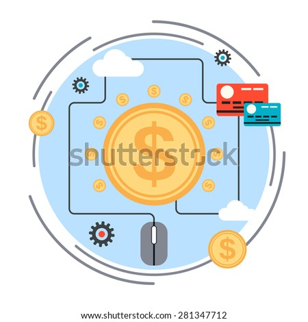 Pay per click, online banking, money transfer, online payment, web commerce concept. Flat design style vector illustration. - stock vector
