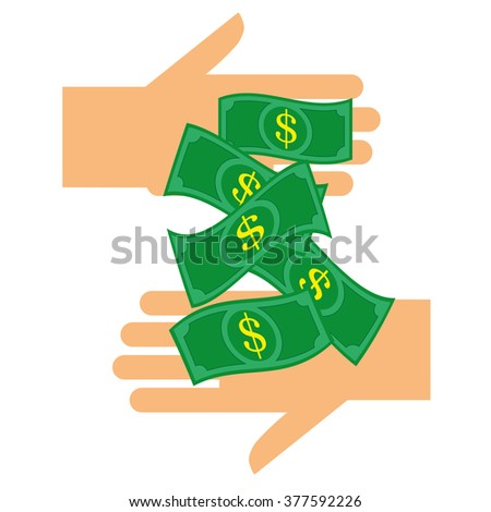 Paying and Earning Money concept with stylized dollar bills passing between two hands - stock vector