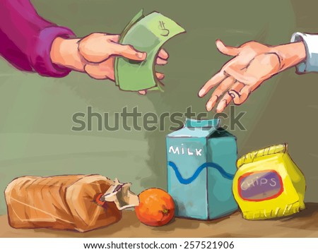 Paying for grocery. Grocery shopping. VECTOR. Great illustration for finance magazine, children book and more.  - stock vector