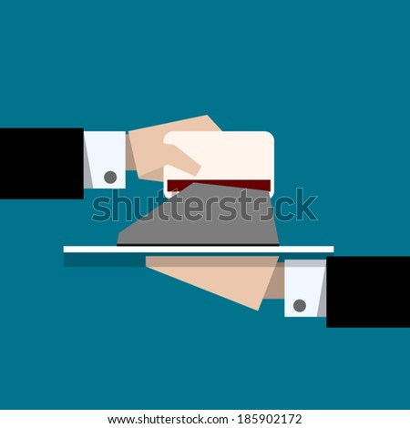 Paying with a credit card through terminal - vector illustration - stock vector
