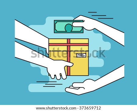 Payment by cash for express delivery. Flat line contour illustration of human hand holds a carton box and other man giving money to courier for the shipping service - stock vector
