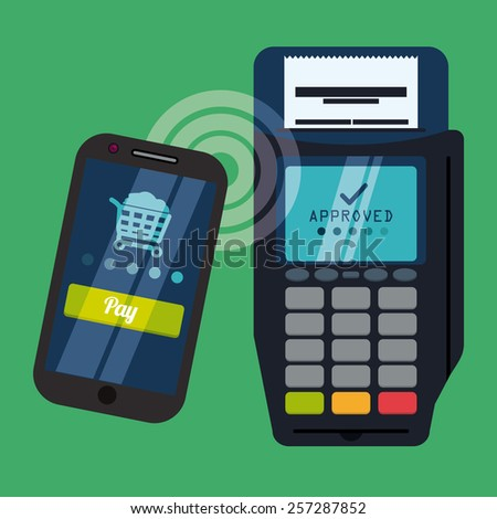 Payment design over green background, vector illustration.