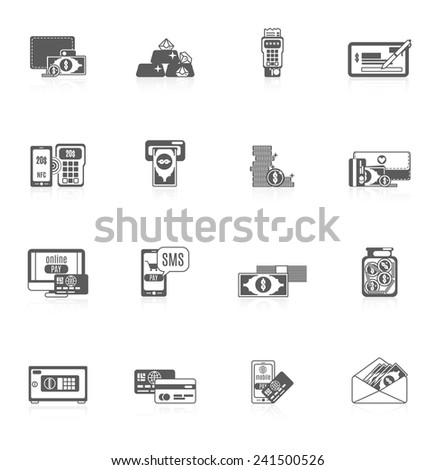 Payment icon black set with banknotes treasure money card isolated vector illustration - stock vector