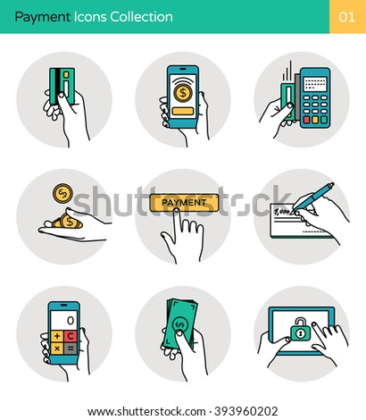 Payment Icons Collection 1. Smart banking, payment methods, money & mobile payment icons.  - stock vector