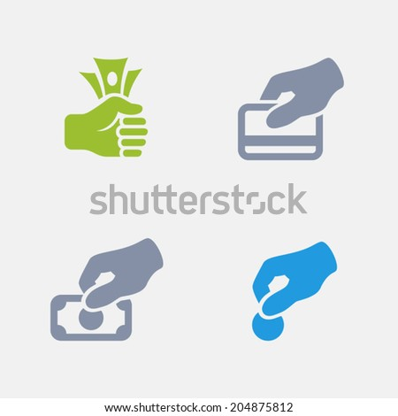 Payment Icons. Granite Series. Simple glyph style icons in 4 versions. The icons are designed at 32x32 pixels. - stock vector