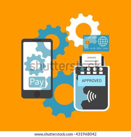 Payment smartphone, communicate with the terminal. Nfc payment. Mobile banking, mobile payment service. Vector, flat. Payments concept. Contactless payment. - stock vector