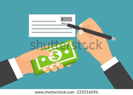 Payments and financial operations. Hands holding banknotes, signing bank check. Paying options. Flat design vector illustration - stock vector