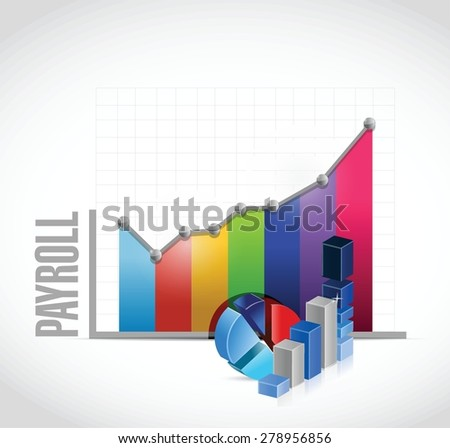 payroll business graph sign concept illustration design over white - stock vector