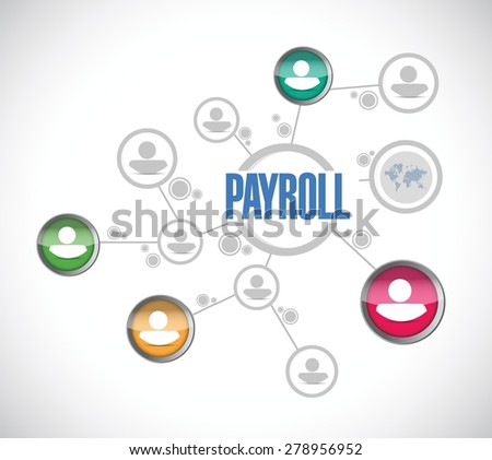 payroll network sign concept illustration design over white - stock vector