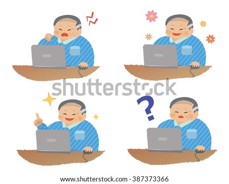 PC and asian middle-aged man expression set.vector art